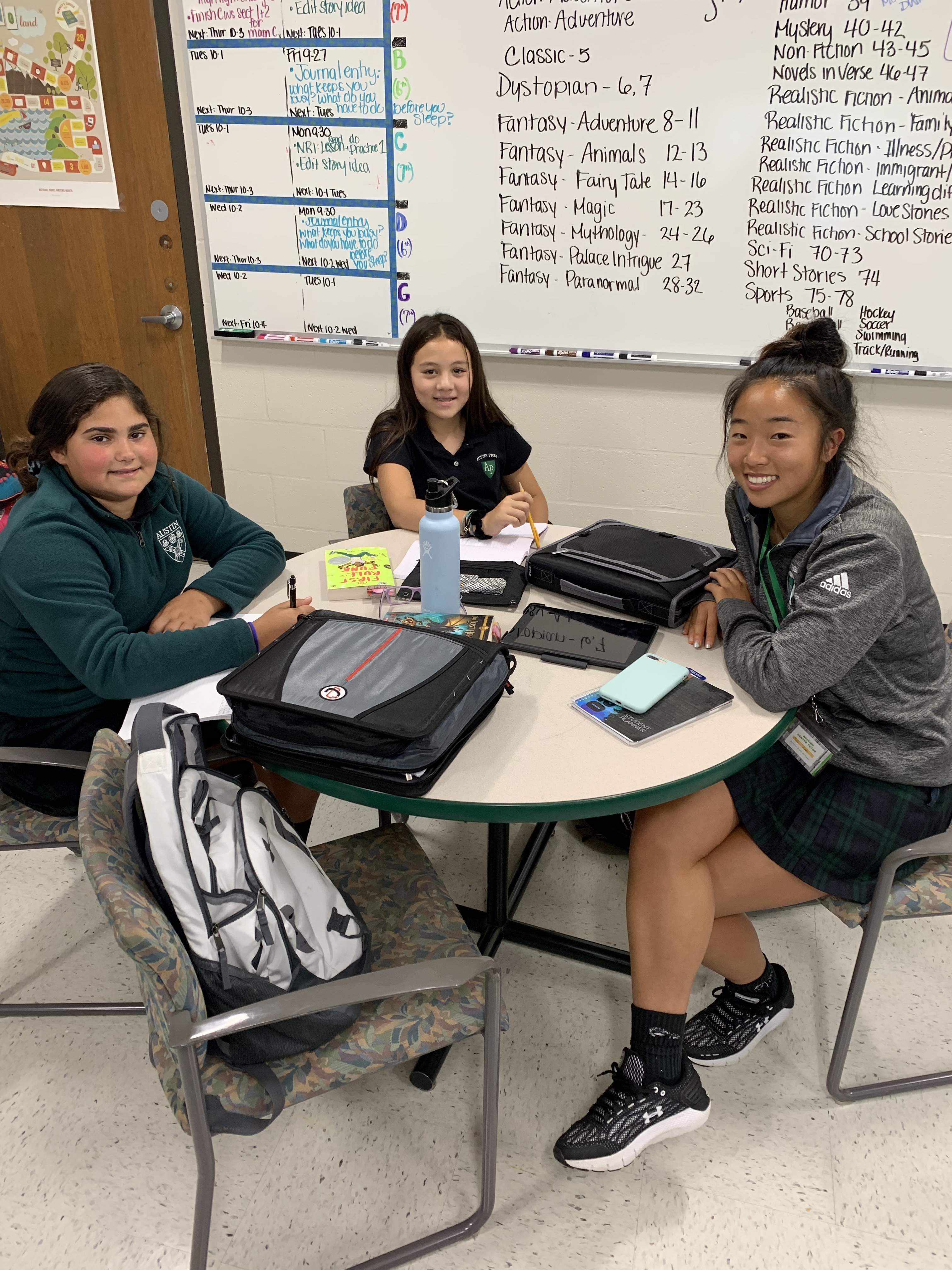 Tutor with young Austin Prep students