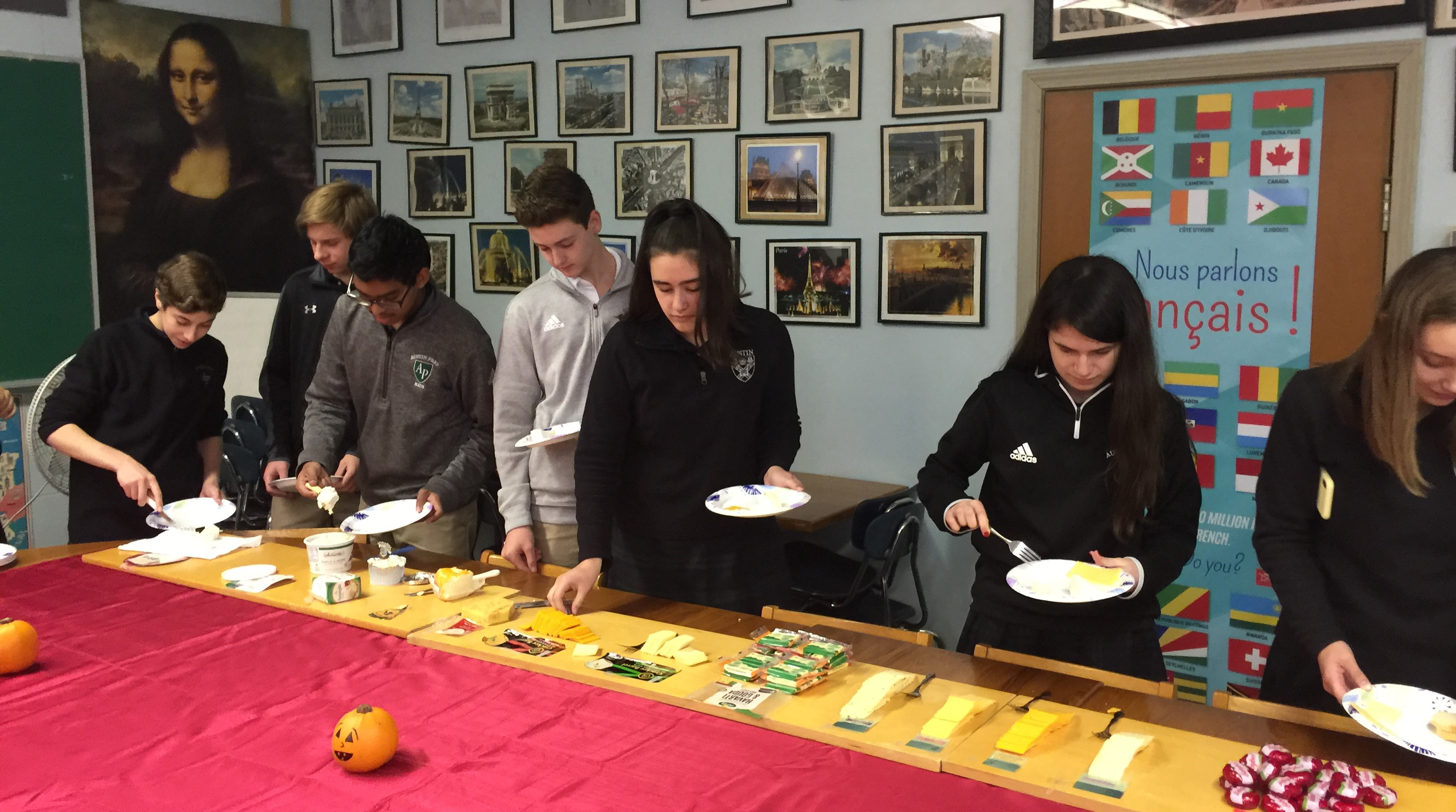 Austin Prep students doing a French cheese tasting