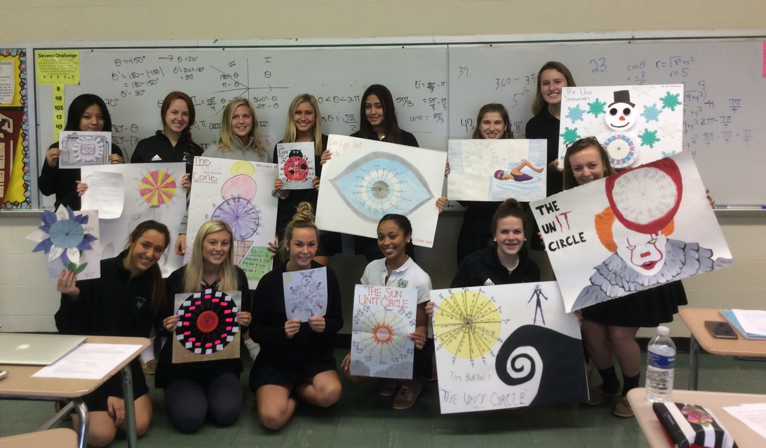 Austin Prep students with unit circle projects