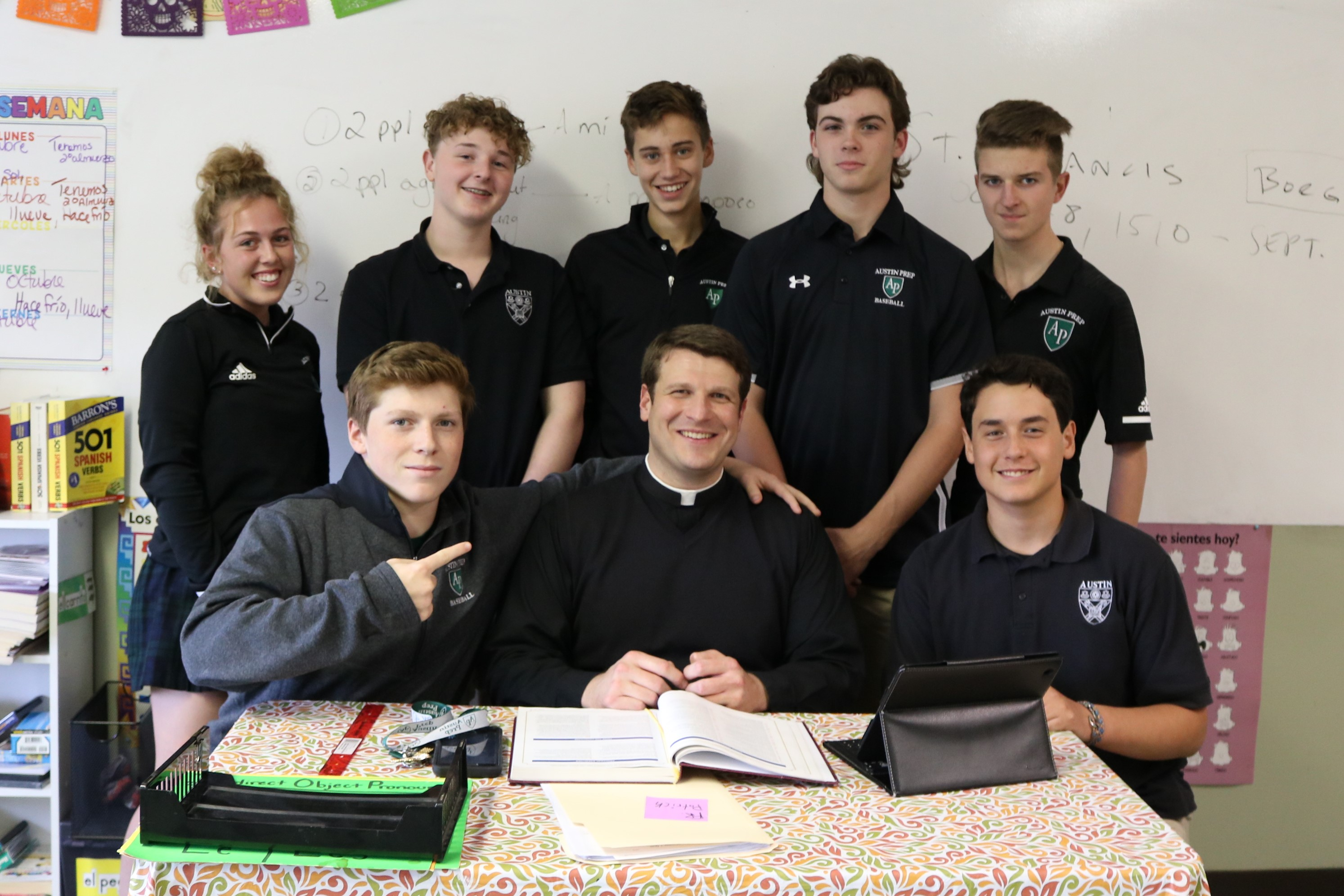 Students with Father Patrick Armano